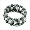 Amulets Set of 3 Individual Simulated Hematite Magnetic Bracelets in White and Black Sparkling Beads Crystals