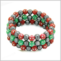 Amulets Set of 3 Individual Simulated Hematite Magnetic Bracelets in Red and Green Sparkling Beads Crystals