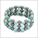 Amulets Set of 3 Individual Simulated Hematite Magnetic Bracelets in White and Sky Blue Sparkling Beads Crystals