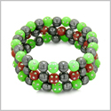 Amulets Set of 3 Individual Simulated Hematite Magnetic Bracelets in Neon Green and Red Sparkling Beads Crystals