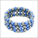 Amulets Set of 3 Individual Simulated Hematite Magnetic Bracelets in Midnight Blue Sparkling Beads Crystals
