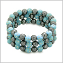 Amulets Set of 3 Individual Simulated Hematite Magnetic Bracelets in Sky Blue Sparkling Beads Crystals