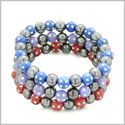 Amulets Set of 3 Individual Simulated Hematite Magnetic Bracelets in Red, Purple and Midnight Blue Sparkling Beads Crystals