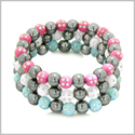 Amulets Set of 3 Individual Simulated Hematite Magnetic Bracelets in White, Sky Blue and Hot Pink Sparkling Beads Crystals
