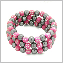 Amulets Set of 3 Individual Simulated Hematite Magnetic Bracelets in Hot Pink Sparkling Beads Crystals