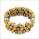 Amulets Set of 3 Individual Simulated Hematite Magnetic Bracelets in Neon Orange Sparkling Beads Crystals