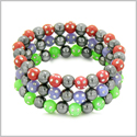 Amulets Set of 3 Individual Simulated Hematite Magnetic Bracelets in Red, Purple and Neon Green Sparkling Beads Crystals