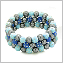 Amulets Set of 3 Individual Simulated Hematite Magnetic Bracelets in Sky Blue and Midnight Blue Sparkling Beads Crystals