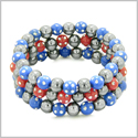 Amulets Set of 3 Individual Simulated Hematite Magnetic Bracelets in Midnight Blue and Red Sparkling Beads Crystals