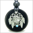 Amulet Howling Wolf Dream Catcher Medallion Magic Circle Black Onyx Spiritual Protection Powers Pendant Adjustable Cord Necklace