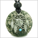Amulet Howling Wolf Dream Catcher Medallion Magic Circle Green Moss Agate Good Luck Powers Pendant Adjustable Cord Necklace