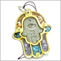Holy Land Genuine Gemstones Amulet Evil Eye Protection and Reflection Hamsa Hand Blessing Natural Wooden Lucky Car Charm