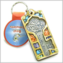 Holy Land Genuine Gemstones Amulet Ancient Kabbalah Good Luck Key Symbol Natural Wooden Keychain Lucky Charm