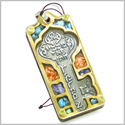 Holy Land Genuine Gemstones Amulet Ancient Kabbalah Good Luck Key Symbol Natural Wooden Lucky Car Charm