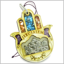Holy Land Genuine Gemstones Amulet Jerusalem Good Luck Powers Hamsa Hand Blessing Natural Wooden Lucky Car Charm