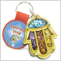 Holy Land Genuine Gemstones Amulet Good Luck and Protection Powers Hamsa Hand Blessing Natural Wooden Keychain Lucky Charm