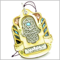 Holy Land Genuine Gemstones Amulet Travelers Wayfarer Prayer Hamsa Hand Protection Blessing Natural Wooden Lucky Car Charm