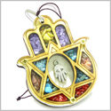 Holy Land Genuine Gemstone Amulet Evil Eye Reflection King Solomon Star Hamsa Hand Blessing Natural Wooden Lucky Car Charm