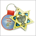 Holy Land Genuine Gemstones Amulet King of Solomon Star and Minora Blessing Natural Wooden Keychain Lucky Charm