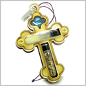 Holy Land Genuine Gemstones Amulet Saint Cross Jordan River Water and Soil Blessing Natural Wooden Lucky Car Charm