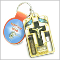 Holy Land Genuine Gemstones Amulet Jesus Cross Jordan River Water and Soil Blessing Natural Wooden Keychain Lucky Charm