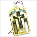 Holy Land Genuine Gemstones Amulet Jesus Cross Jordan River Water and Soil Blessing Natural Wooden Lucky Car Charm