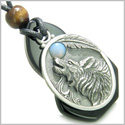 Amulet Howling Wolf Black Onyx Unique Gemstone Centerpiece with Opalite Cabochon Spiritual and Good Luck Powers Pendant Necklace