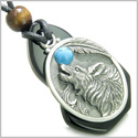 Amulet Howling Wolf Black Onyx Unique Gemstone Centerpiece with Turquoise Cabochon Spiritual Good Luck Powers Pendant Necklace