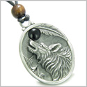 Amulet Howling Wolf and Black Onyx Moon Gemstone Oval Shape Fine Pewter Lucky Charm Pendant on Adjustable Cord Necklace