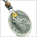 Amulet Howling Wolf and Tiger Eye Moon Gemstone Oval Shape Fine Pewter Lucky Charm Pendant on Adjustable Cord Necklace