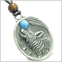 Amulet Howling Wolf and Turquoise Moon Gemstone Oval Shape Fine Pewter Lucky Charm Pendant on Adjustable Cord Necklace
