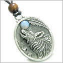 Amulet Howling Wolf and Opalite Gemstone Oval Shape Fine Pewter Lucky Charm Pendant on Adjustable Cord Necklace