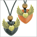 Angel Wings Love Couple Best Friends Heart Yin Yang Amulets Black Agate and Red Jasper Necklaces