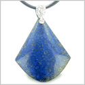 "Lapis Lazuli Triangle Pendulum Shaped Good Luck Powers Gemstone Magic Amulet Pendant on Leather 18"" Necklace"