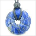Lapis Lazuli Magic Celtic Flower Lucky Donut Good Luck Powers Amulet Gemstone Pendant on Adjustable Cord Necklace