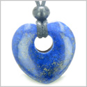 Lapis Lazuli Puffy Heart Shaped Lucky Donut Good Luck Powers Magic Amulet Gemstone Pendant on Adjustable Cord Necklace