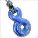 Lapis Lazuli Infinity Magic Powers Knot Lucky Charm Amulet Gemstone Pendant on Adjustable Cord Necklace