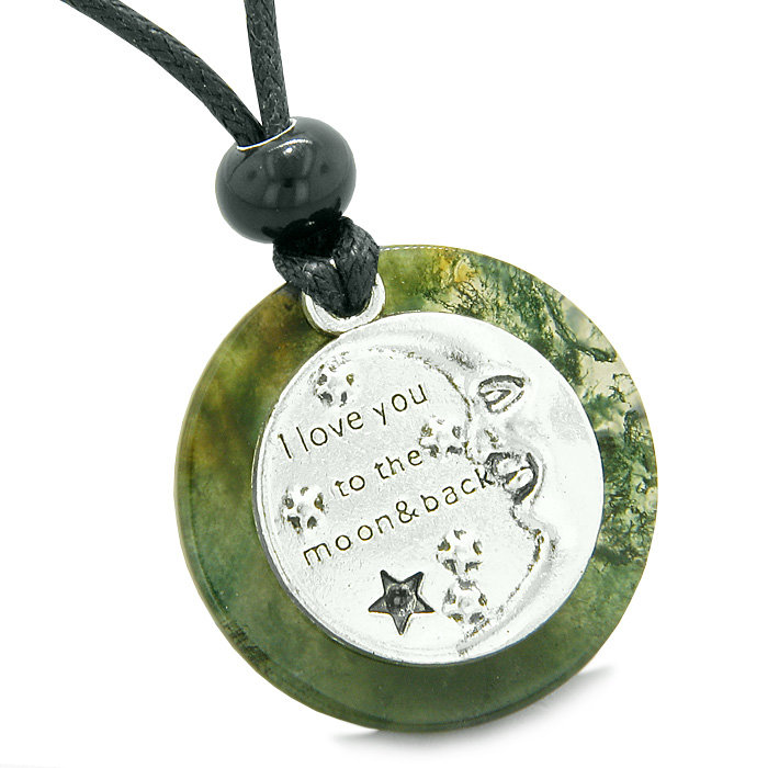I Love You to the Moon and Back Love Couples Amulets Green Quartz and Blue Goldstone Arrowhead Necklaces