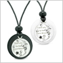 I Love You to the Moon and Back Couples or Best Friends Medallion Amulets Agate White Quartz Necklaces