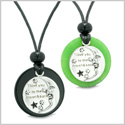 I Love You to the Moon and Back Couples or Best Friends Medallion Amulets Agate Green Quartz Necklaces