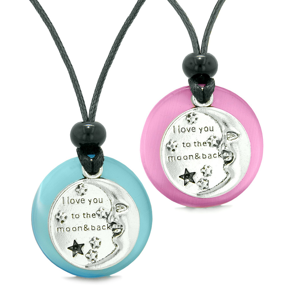 I Love You to the Moon and Back Amulets Love Couples Sky Blue Simulated Cats Eye Arrowhead Necklaces