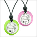 I Love You to the Moon and Back Couples or Best Friends Amulets Pink Green Simulated Cats Eye Necklaces