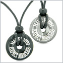 Amulets Have Faith Expect Miracles Love Couples or Best Friends Donuts Hematite and Black Agate Necklaces