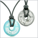 Amulets Have Faith Expect Miracles Love Couples Donuts Hematite Blue Simulated Cats Eye Pendant Necklaces