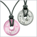 Amulets Have Faith Expect Miracles Love Couples Donuts Hematite Pink Simulated Cats Eye Pendant Necklaces