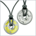 Amulets Have Faith Expect Miracles Love Couples or Best Friends Lucky Donuts Hematite Pendant Necklaces