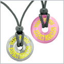 Amulets Have Faith Expect Miracles Love Couples Lucky Donuts Hematite Pink Simulated Cats Eye Necklaces