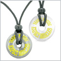 Amulets Have Faith Expect Miracles Love Couples Lucky Donuts Hematite White Simulated Cats Eye Necklaces