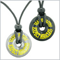 Amulets Have Faith Expect Miracles Love Couples Best Friends Lucky Donuts Hematite Black Agate Necklaces