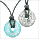 Amulets Life is Tough But I am Tougher Love Couples Donuts Hematite and Blue Simulated Cats Eye Necklaces